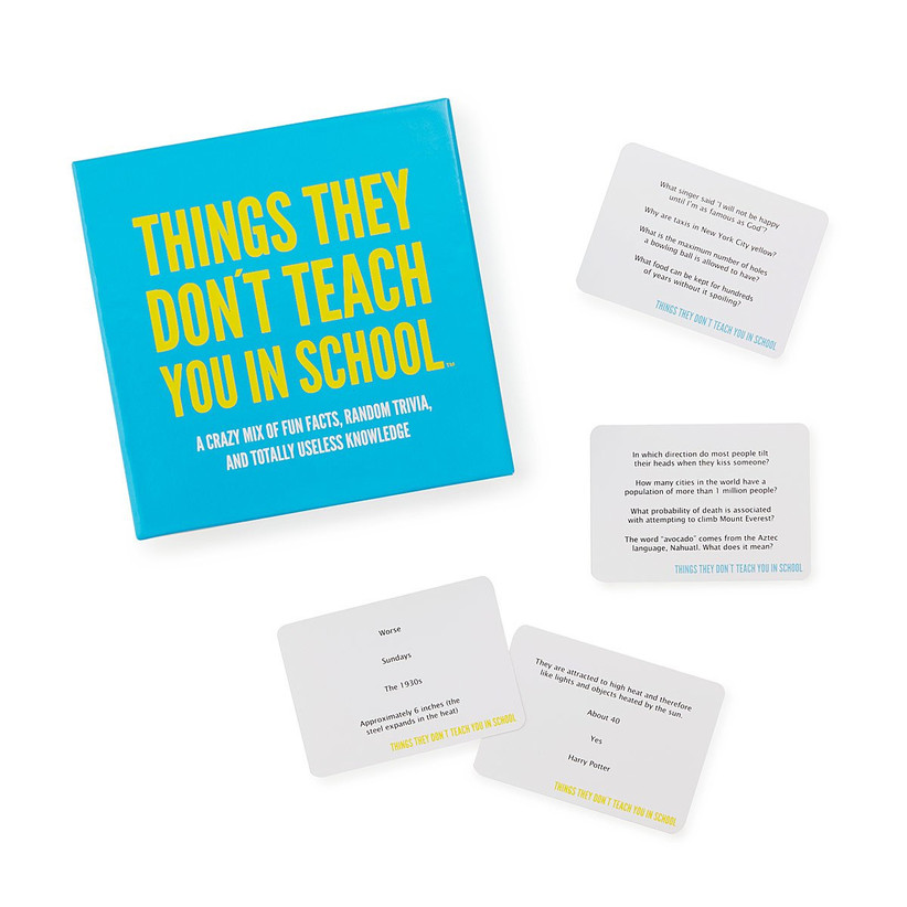 Blue and yellow Things They Don't Teach You in School game box with some example cards