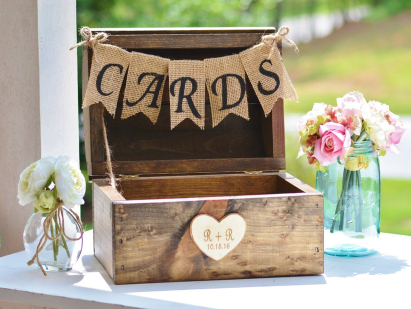 rustic wooden wedding card box with mini bunting burlap banner that says cards