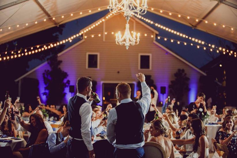guests toasting at wedding