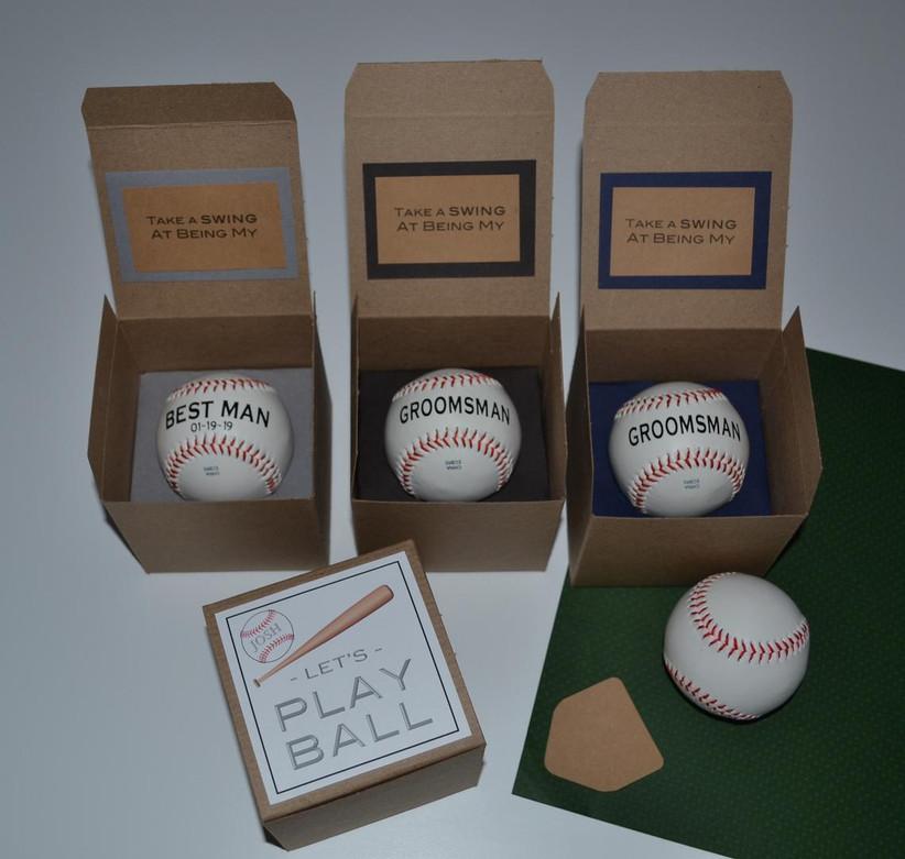 Personalized baseball groomsmen proposal gift