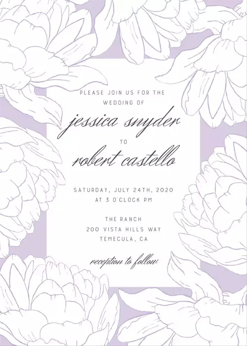romantic spring wedding invitation with lavender background and peony print
