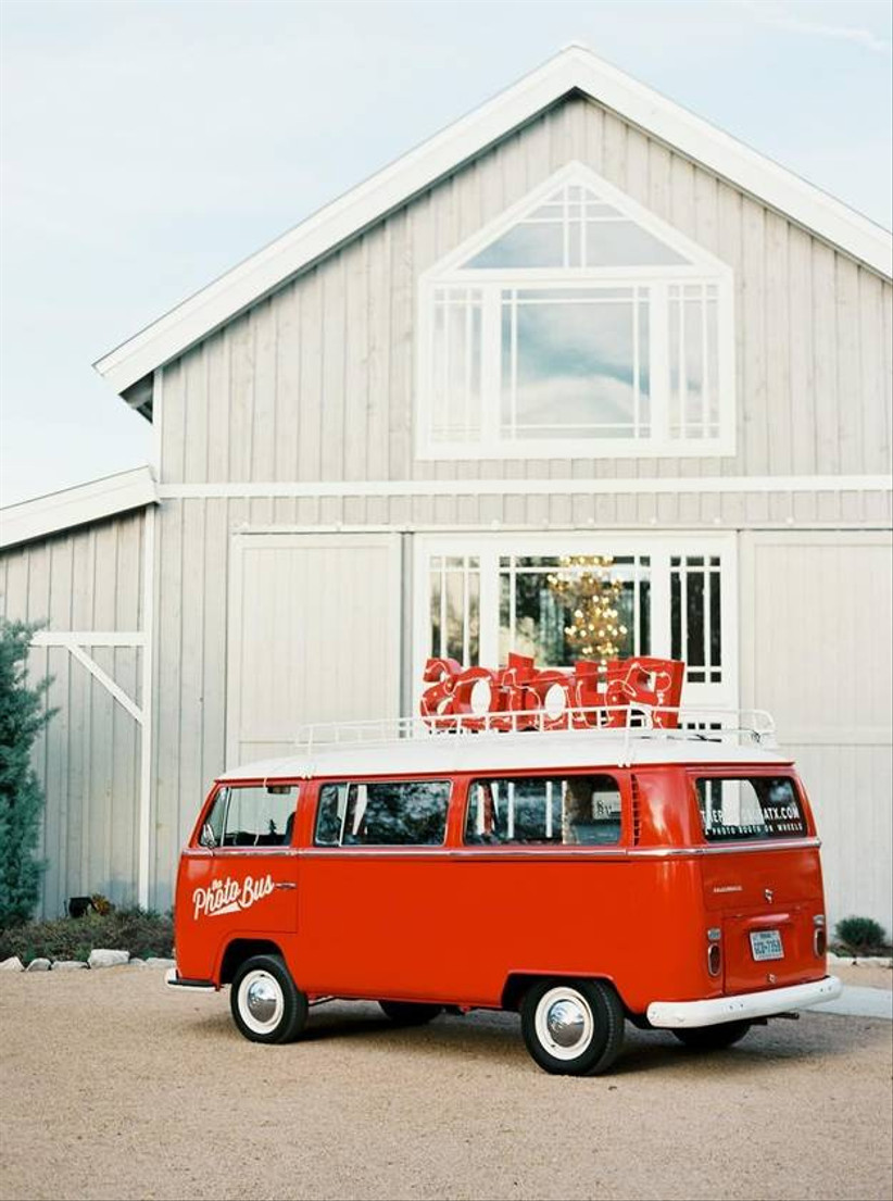 red wedding photo booth bus
