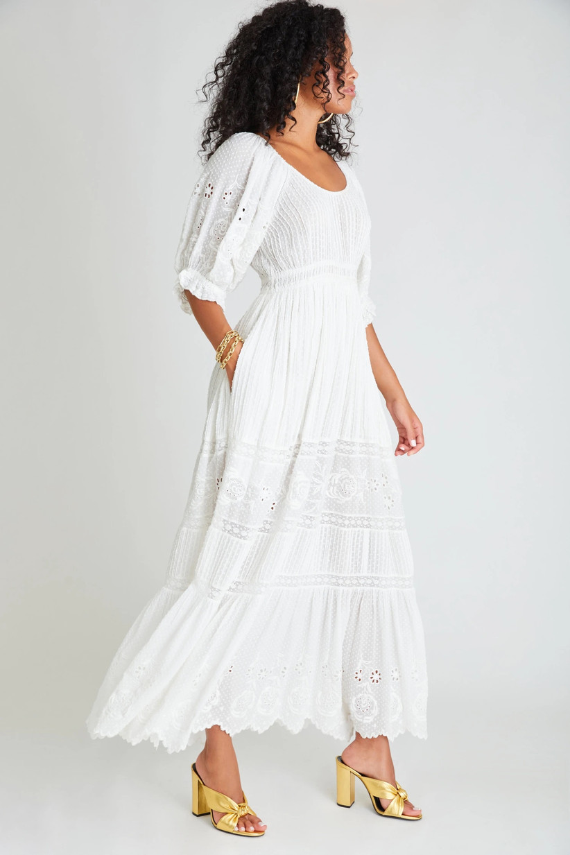 Casual white cotton rehearsal dinner dress