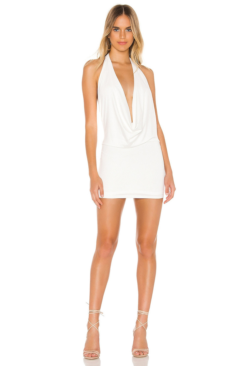 short bachelorette party dress with plunging cowl v-neckline and halter strap