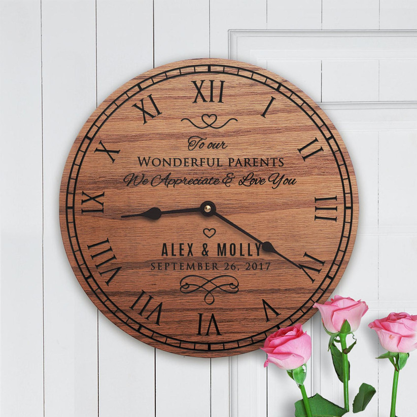 Personalized wooden clock with couple's names and wedding date