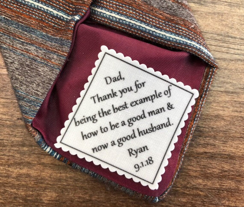 Sentimental message tie patch father of the groom gift