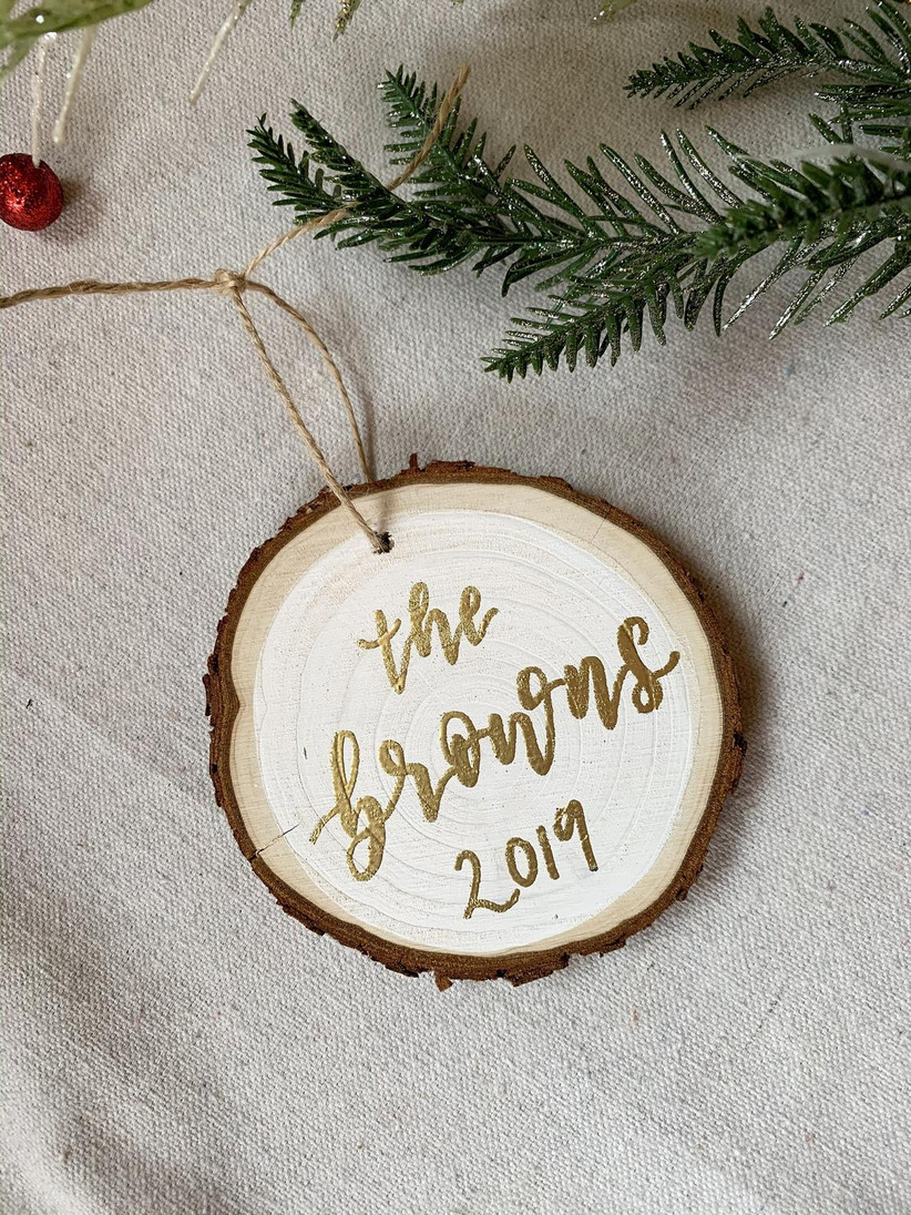 rustic wedding christmas ornament