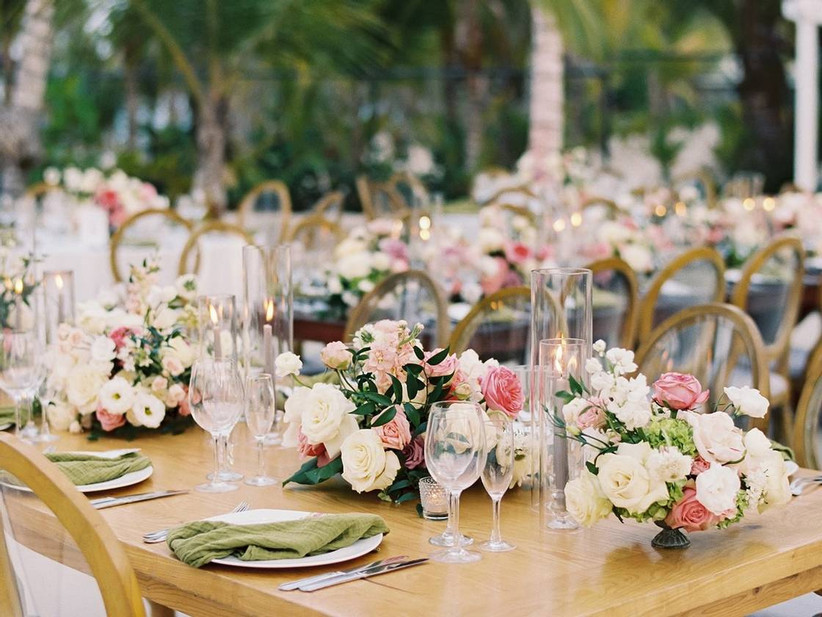 spring wedding idea rose and candle centerpieces
