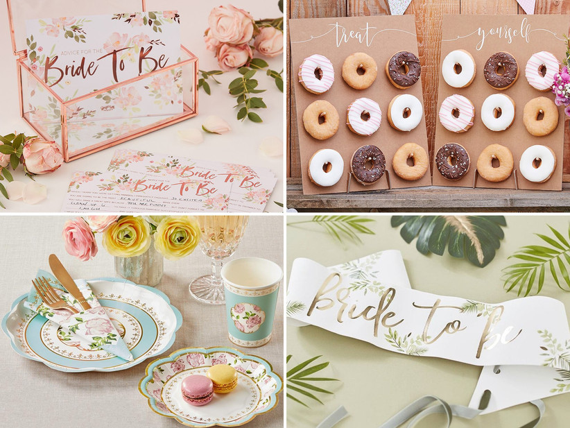 Collage of four bridal shower decoration ideas including rose gold advice cards and box, Treat Yourself rustic cardboard donut boards, vintage floral and metallic paper plates, and white bride to be banner with gold foil and tropical leaf motif