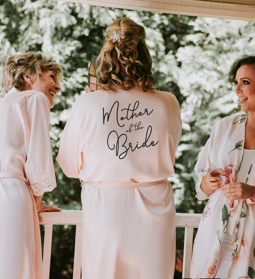 Woman wearing Mother of the Bride robe