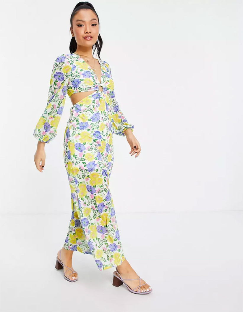 ASOS floral long-sleeve dress