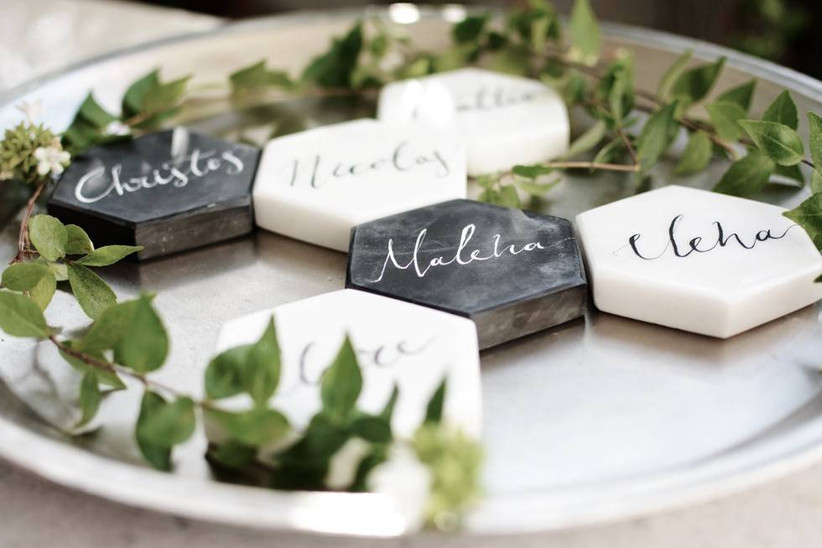marble tile wedding place cards