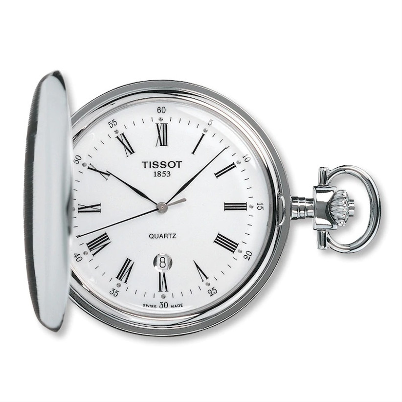 Tissot stainless steel pocket watch with white dial