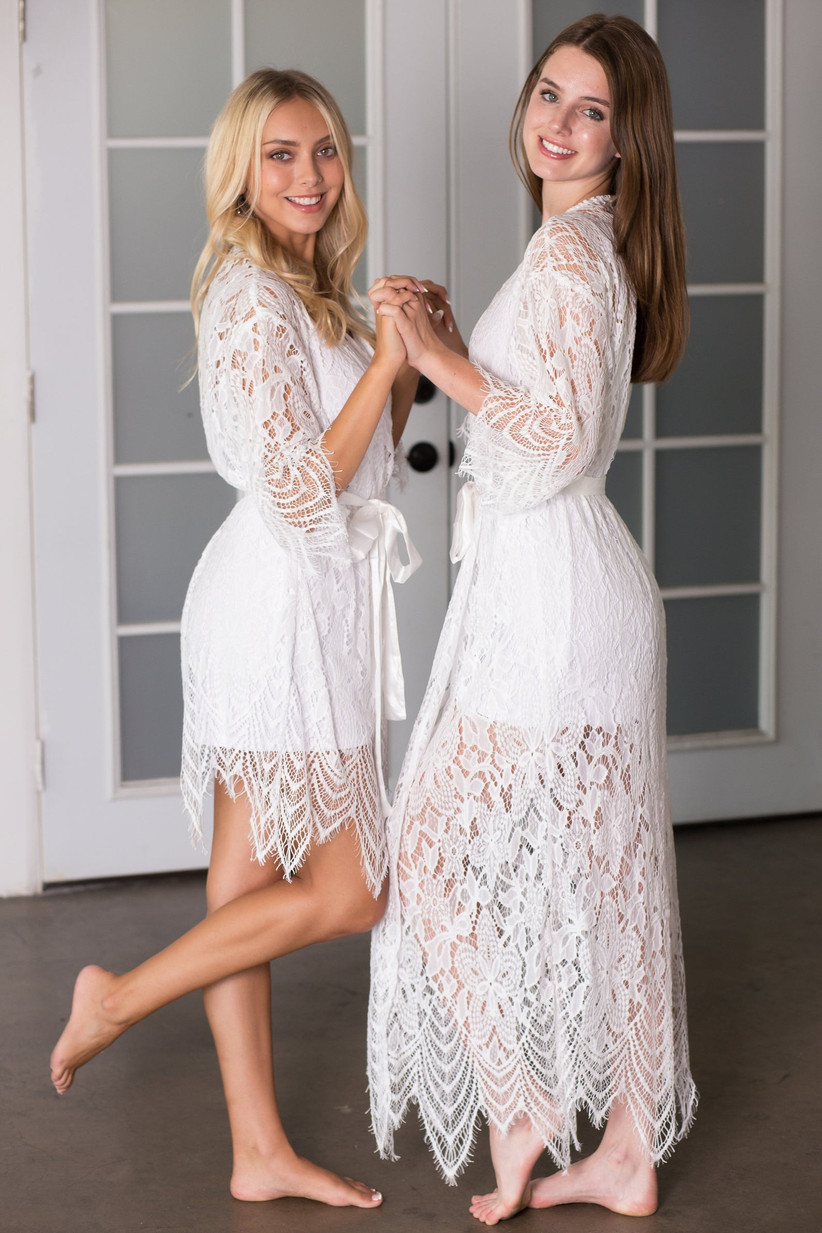 Long and short versions of allover white lace bridal robe