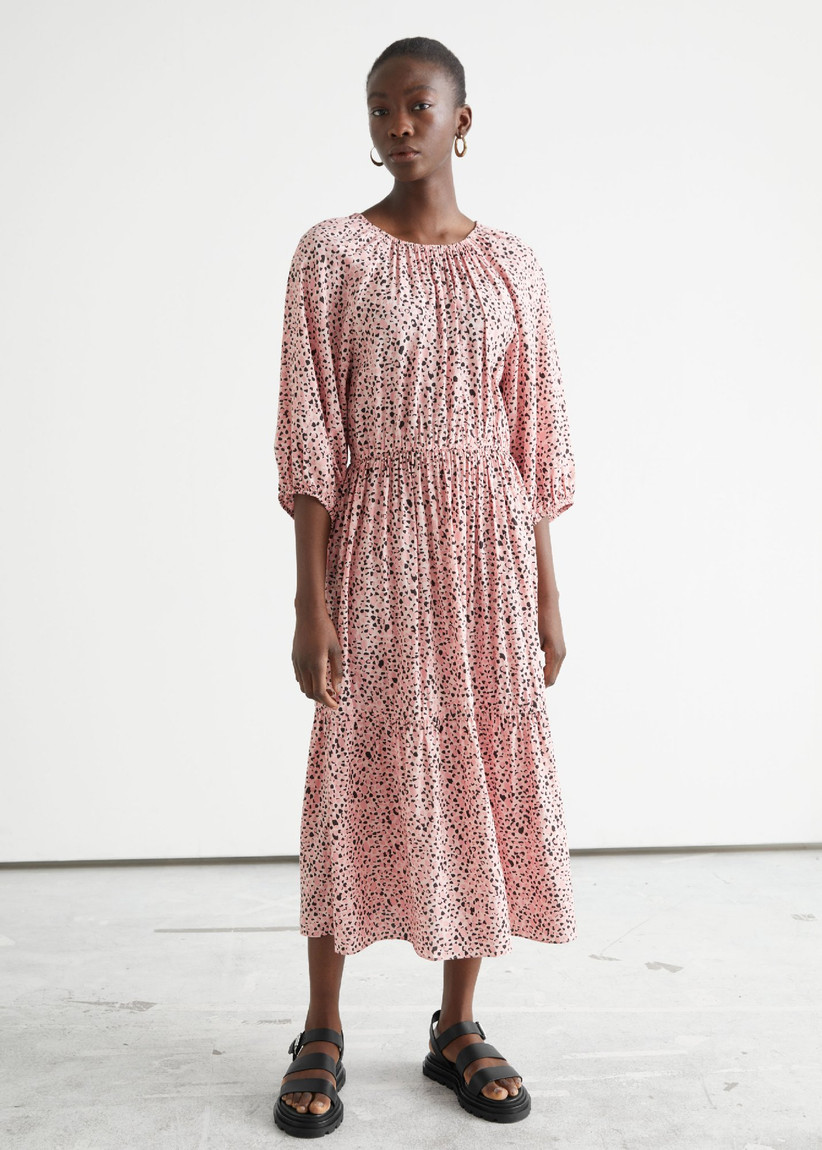 Pink and black loose-fitted midi