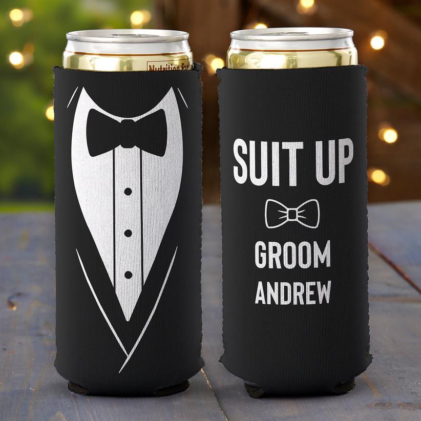 Suit Up personalized tuxedo can koozie groomsmen gift idea