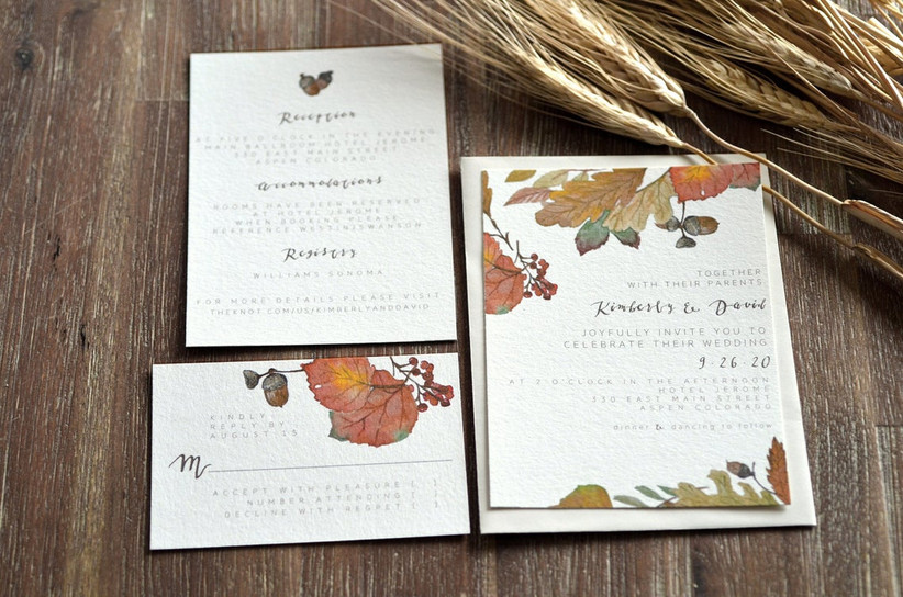 fall wedding invitation with leaves