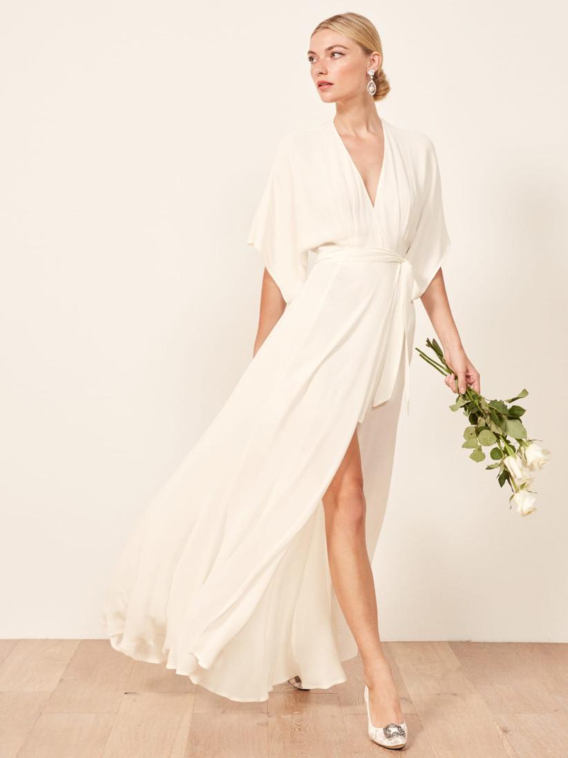 romantic wrap courthouse wedding dress
