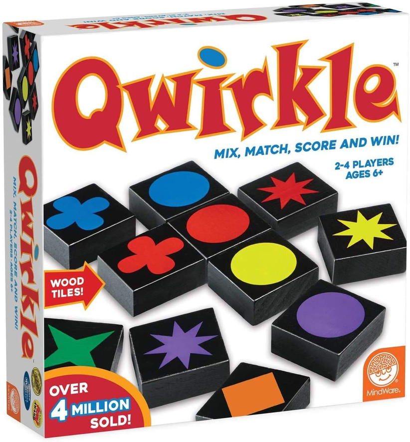 Qwirkle board game box showing picture of black tiles with colorful shapes on them
