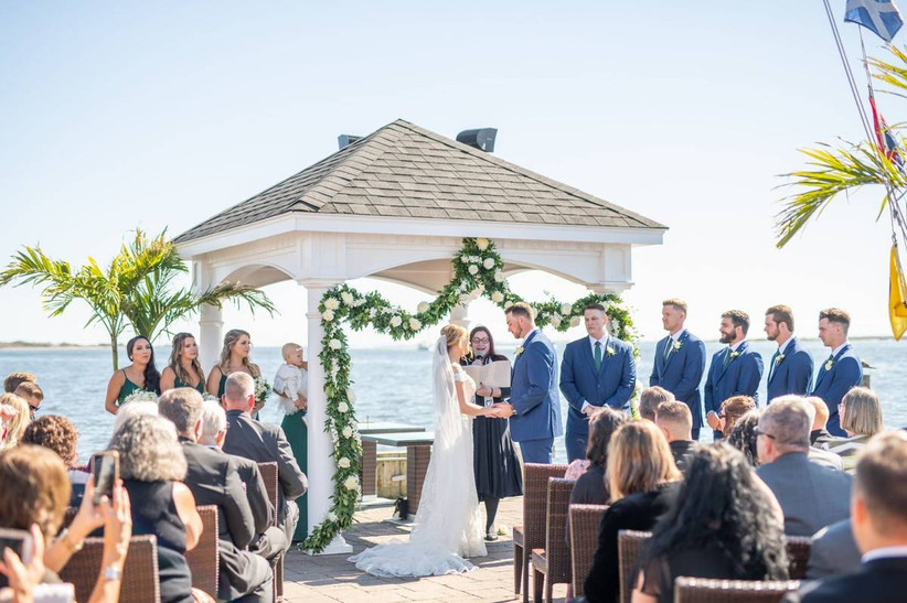 waterfront gazebo wedding ceremony