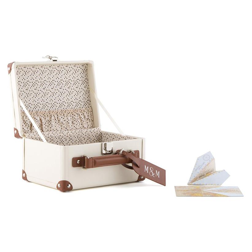vintage wedding card box idea miniature antique suitcase