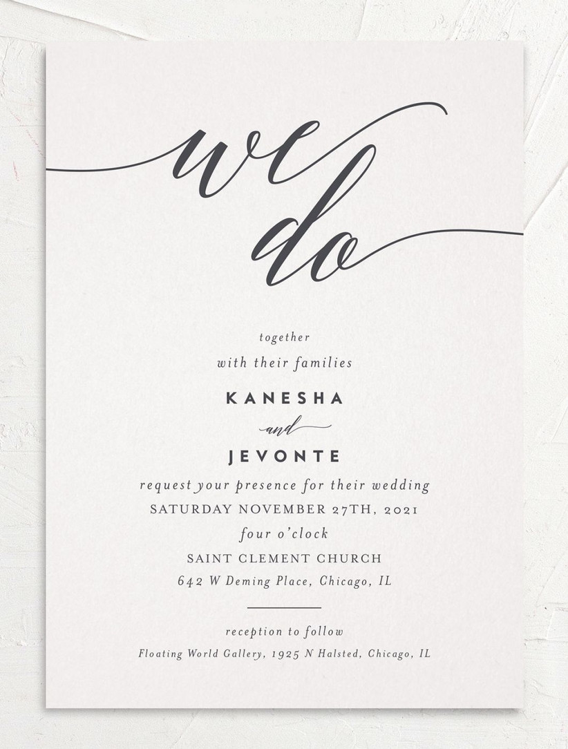 simple summer wedding invitation off-white card with