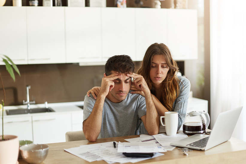 stressed couple after spouse loses job