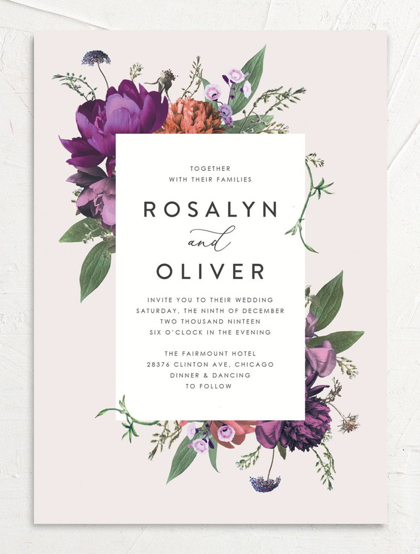 moody floral spring wedding invitation with purple and rust orange flowers