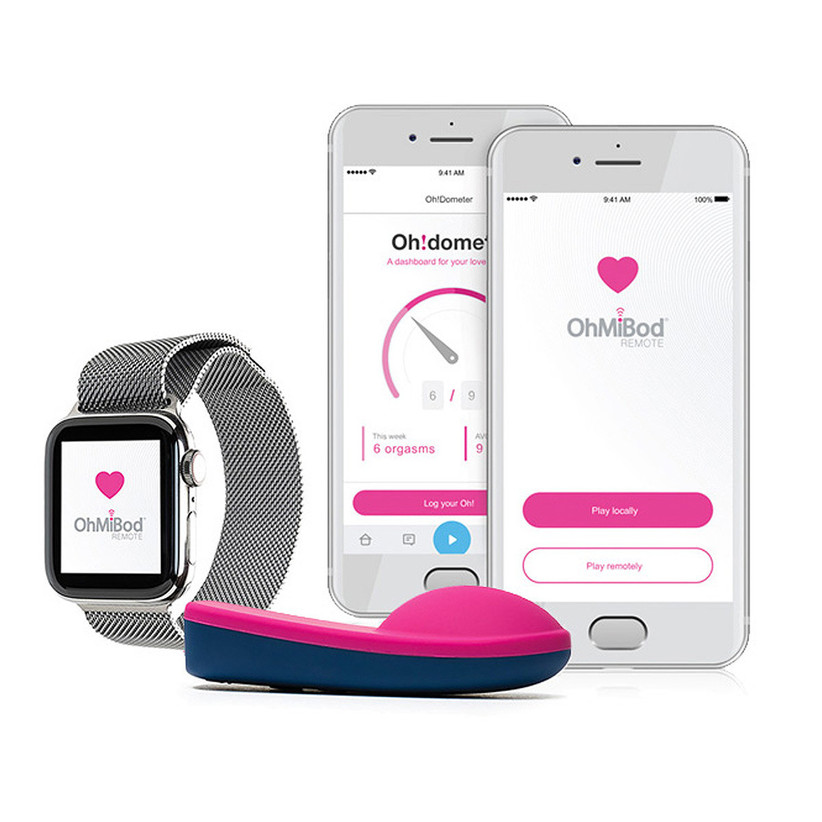 pink vibrator with apple watch and cell phones