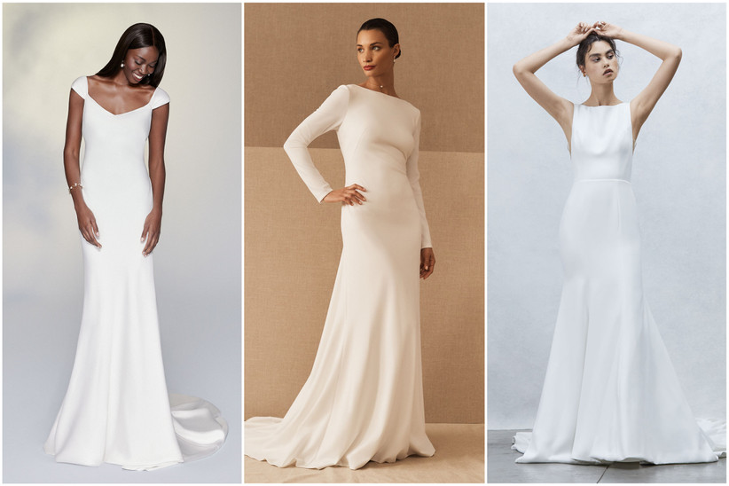 image collage of 2022 wedding dresses minimalistic styles