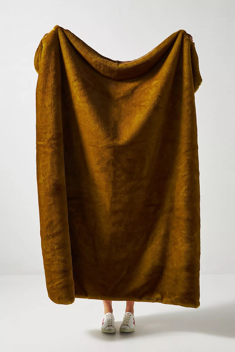 anthropologie faux fur citrine throw blanket for 13th year wedding anniversary gift