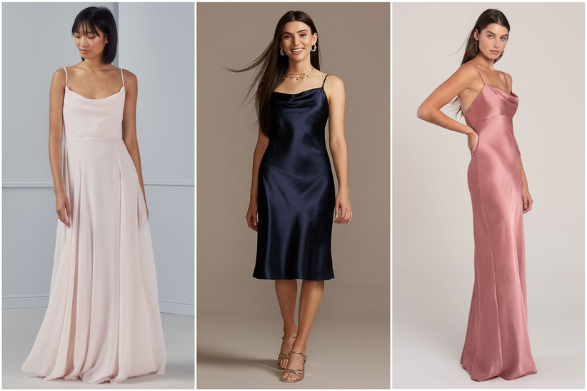 Three models wearing various bridesmaid dresses with cowl necklines in blush, navy blue and mauve colors