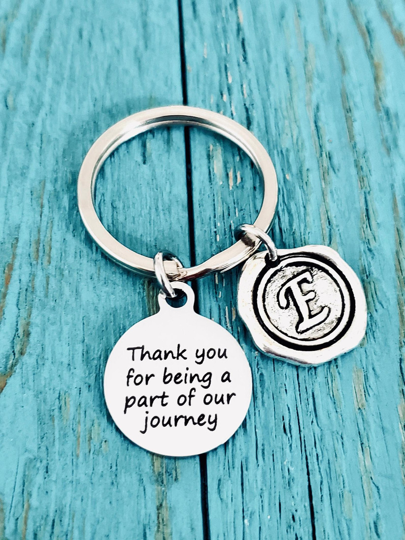 Thank You for Being a Part of Our Journey keychain thank-you gift for wedding vendor