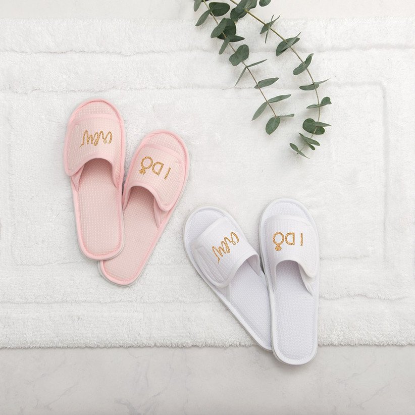 Cotton open-toe slippers in pink and white and I Do Crew written across each slipper in gold