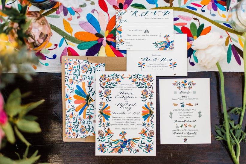 rainbow wedding theme invitations with colorful folk art inspired design