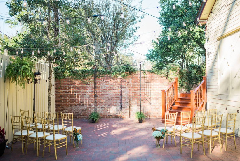 outdoor ceremony view at the gingerbread house