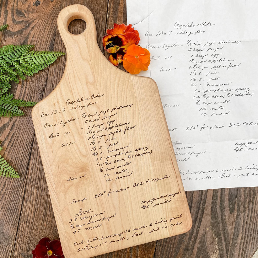 Custom engraved recipe cutting board mother of the groom gift