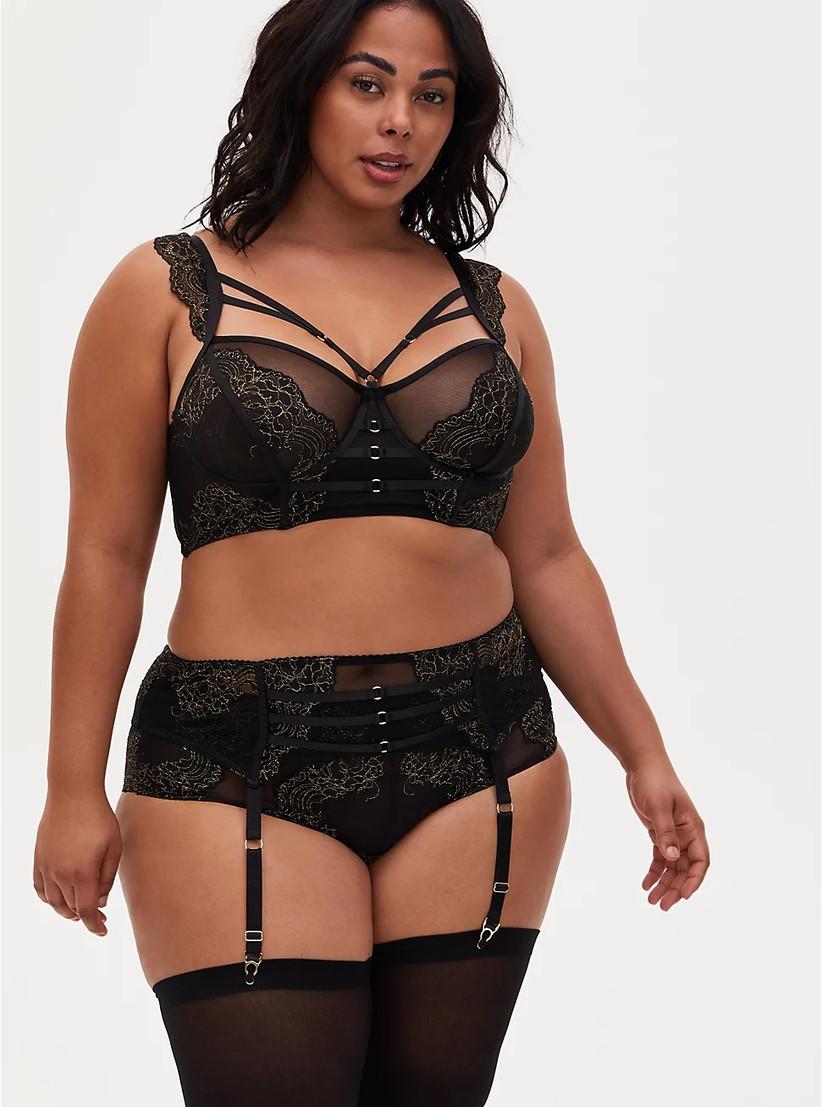 Sexy three-piece plus-size wedding night lingerie