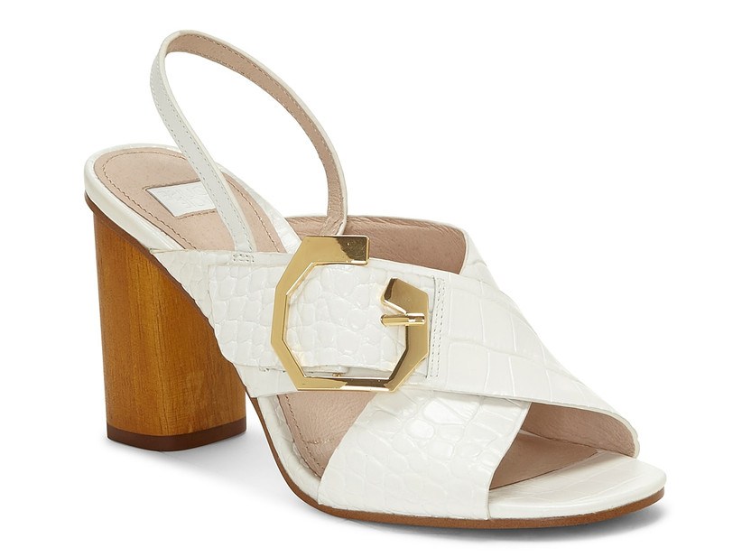 chunky white leather block heel sandal with criss-cross strap and large gold buckle