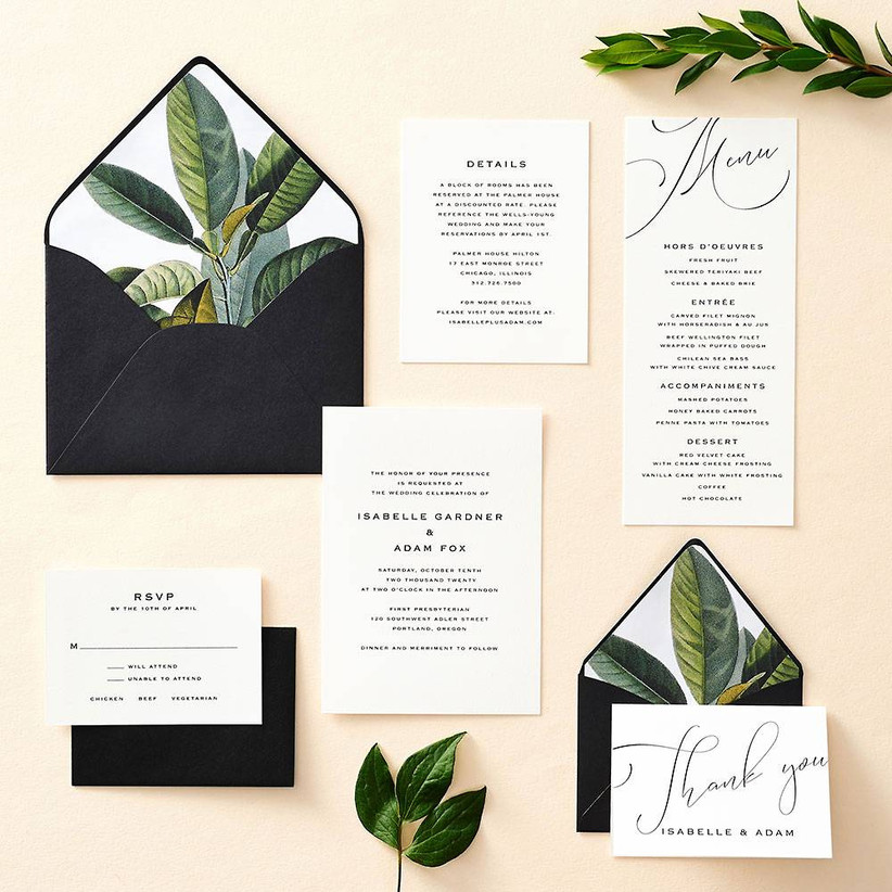 Classic and tropical wedding invitation suite