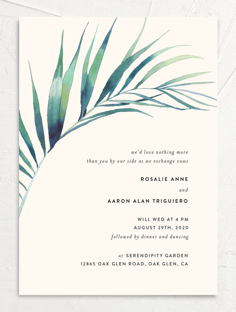 tropical summer wedding invitation with watercolor greenery across the top