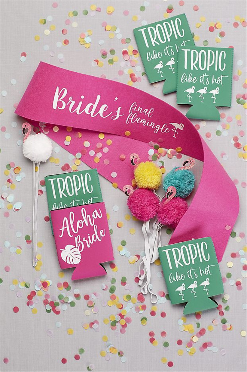 tropical bachelorette party sash and matching drink coozies decorated with flamingos and