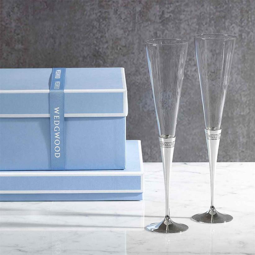 Mirrored silver-stemmed wedding champagne flutes