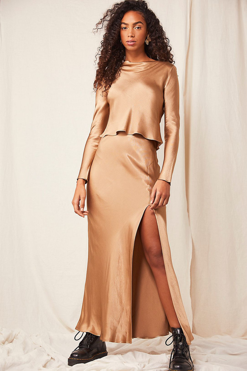 Metallic two-piece skirt and top rehearsal dinner outfit