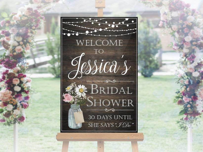 rustic bridal shower sign