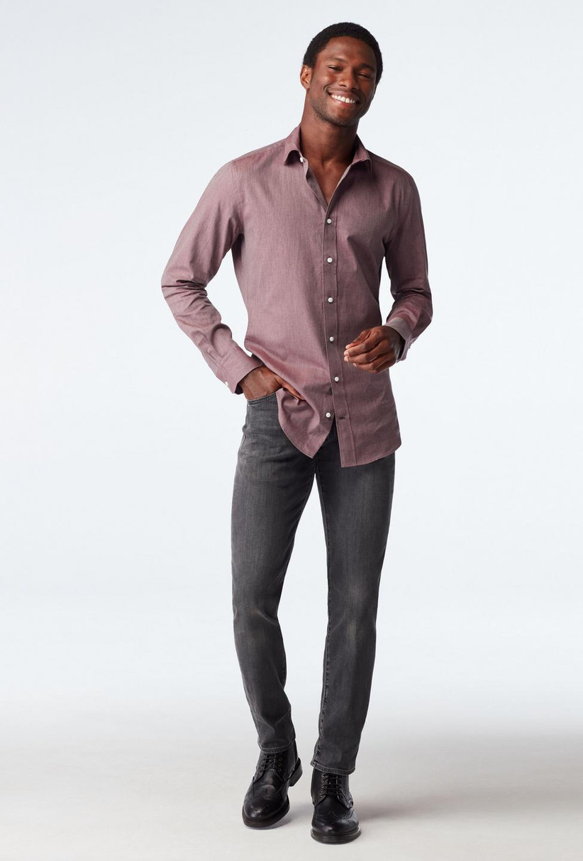 Shirt and jeans rehearsal dinner guest outfit