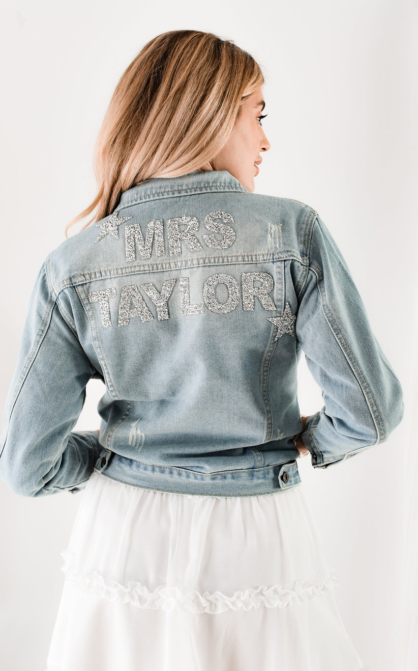 denim bridal jacket decorated with