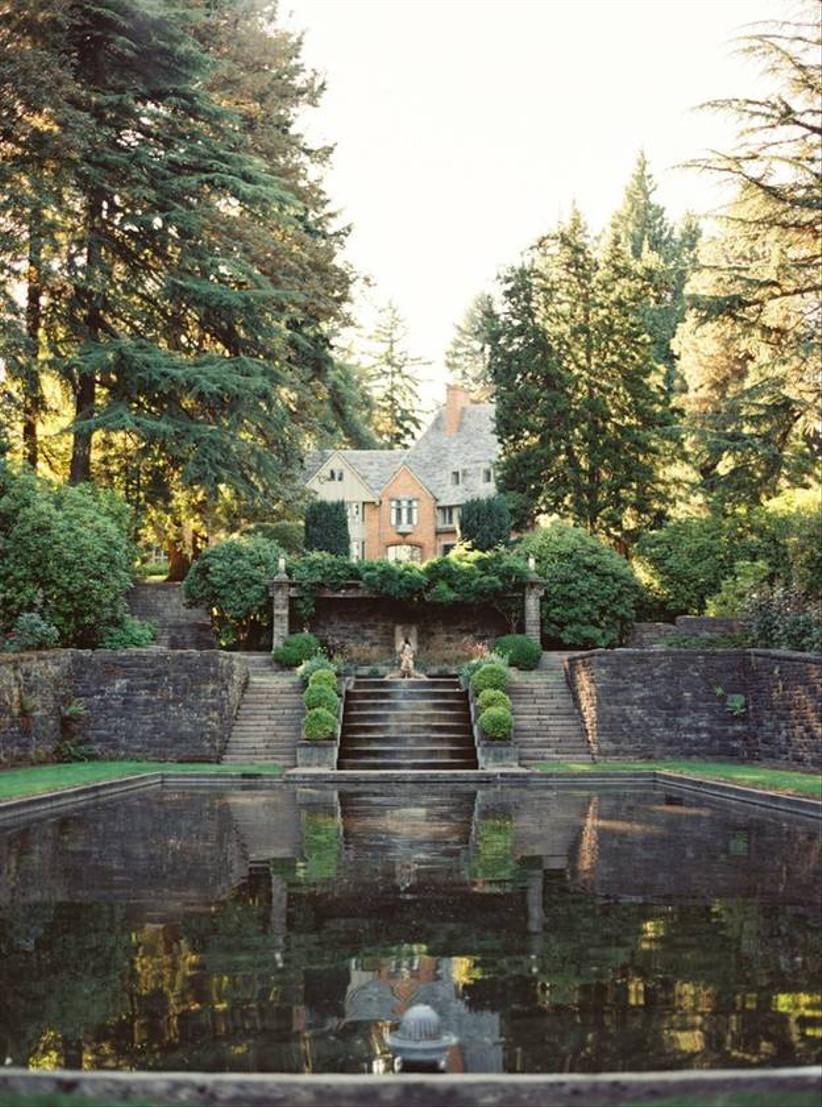 wedding venue in oregon lewis & clark college pond in sunken English style garden