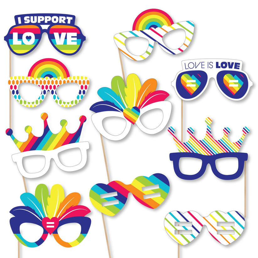 rainbow photo booth props