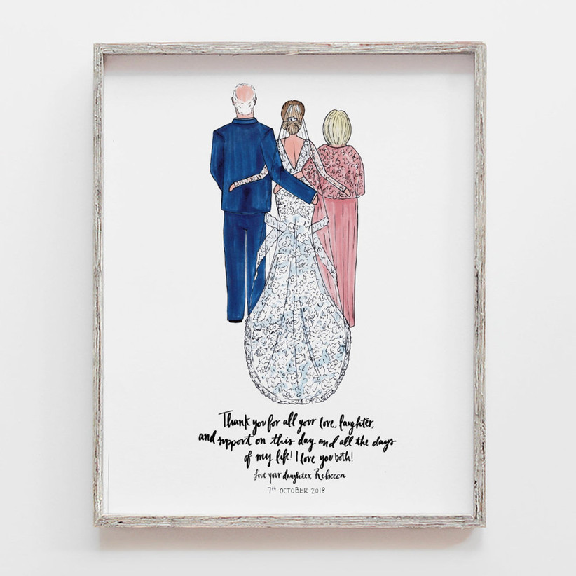 Custom illustrated portrait gift for father and mother of the bride